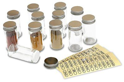 12 Spice Bottles Jars Glass Clear Storage Set Kitchen Container Free Shipping