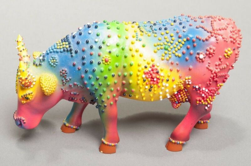 Cow Parade Collectors Rainbow Cow Plastic Figurine No. 9145 2002 Tie-Dye
