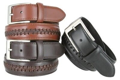 Leather Jean Casual Belt - Men's Woven Laced Braided Genuine Leather Casual Jean Dress Belt 1-3/8