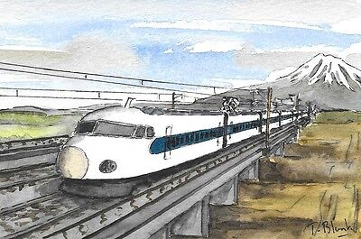 ORIGINAL AQUARELL - Der Shinkansen in Fahrt.