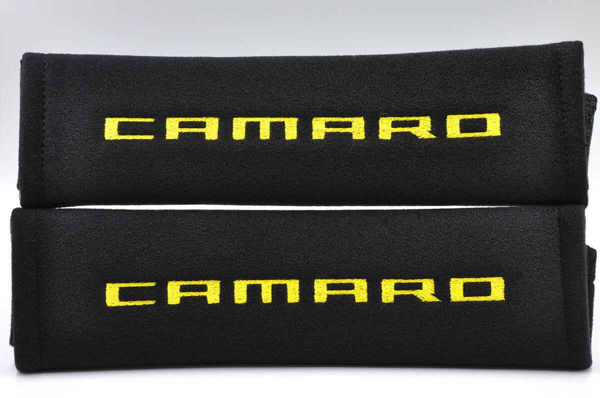 Embroidery Seat Belt Cover Soft Yellow on Black Pads Pair For Chevrolet Camaro