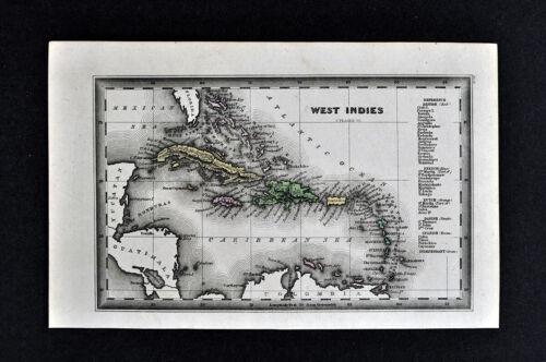 1834 Carey Map West Indies Caribbean Cuba Jamaica Bahama Puerto Rico Antilles