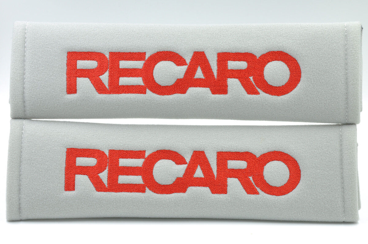 Red on Gray Embroidery Soft Seat Belt Cover Shoulder Pad Pair Recaro Logo