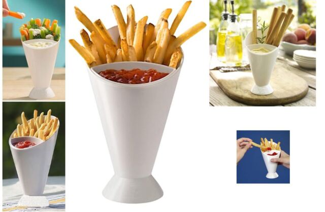 2 Dipper Cone French Fries Dip Fry Sauce Snack Holder Food Party Bowl Serving