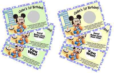 BABY MICKEY MOUSE SCRATCH OFF OFFS PARTY GAME GAMES CARDS 1st BIRTHDAY FAVORS - 1st Birthday Games
