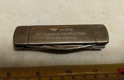Vintage Amtrak Engineering Production Advertising Zippo Pocket Knife Multi Tool