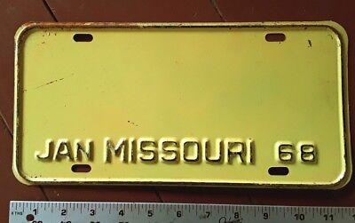 MISSOURI - 1968 old school stamped BLANK, prison cull license plate. Rare find!