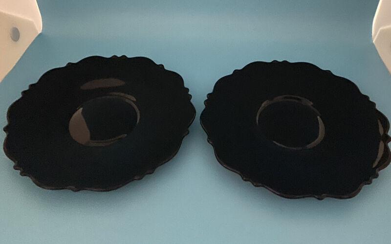 2 Art Glass Black Amethest  Pretty Luncheon Plates