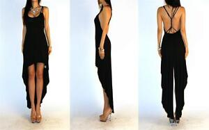 BLACK MINIMALIST OPEN CROSS STRAPED BACK TAILED HIGH LOW HEM COCKTAIL DRESS SML
