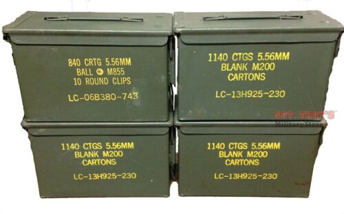 4 PACK .50 CALIBER 5.56mm AMMO CAN M2A1 50CAL METAL AMMO CAN BOX Very Good Empty