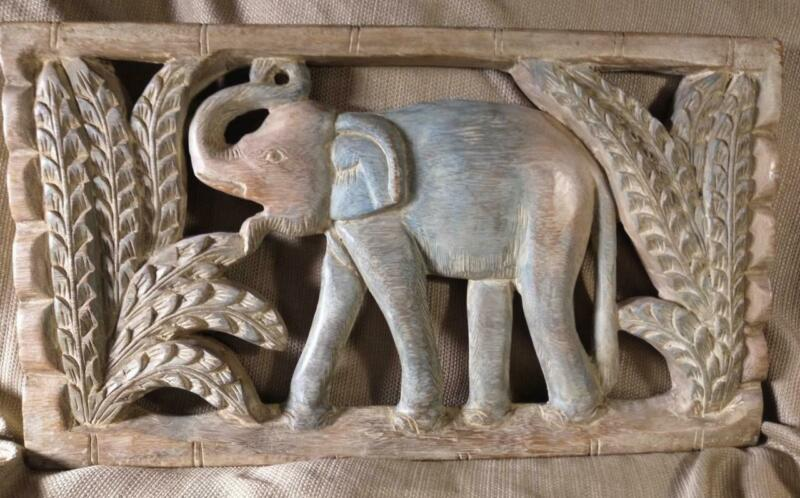 Carved Wood Wooden Carving Elephant Tropical Palm Trees Wall Plaque Jungle Art