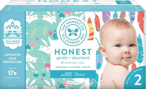 The Honest Company Diapers, Painted Feathers & Bunnies, Size 2, 76 Count