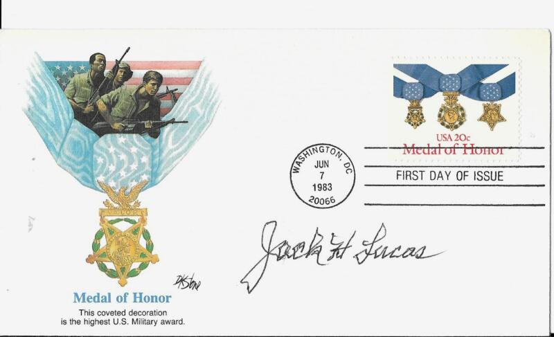 JACK LUCAS MEDAL OF HONOR 5TH MARINE DIVSN IWO JIMA RARE SIGNED FIRST DAY COVER