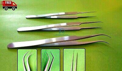 Hair Transplant Forceps Set Of 3 Straightangledround Very Fine Points