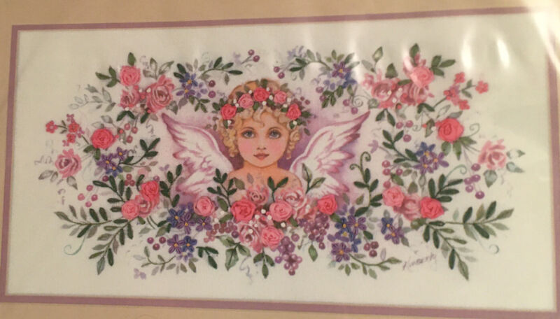"""RARE Dimensions Ribbon Embroidery Kit """"Victorian Angel"""" 15"""" X 8"""" #1437 Angel"""