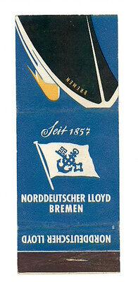 NORDDEUTSCHER LLOYD BREMEN MATCHBOX LABEL ANNI '50 MARINA