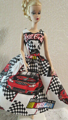 OOAK for SILKSTONE, FR, MTM BARBIE DOLL ~ NASCAR COCA-COLA DRESS