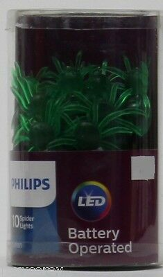 Halloween Philips 10 Green Battery Operated Spider LED Light 3 ft lighted length