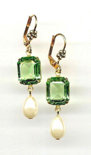 PERIDOT green emerald-cut crystal PEARL Teardrop EARRINGS 14K Gold gp *Vtg Czech