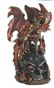 12-Inch-Red-Dragon-with-Staff-on-Black-Skull-Fantasy-Statue-Figurine-Magic
