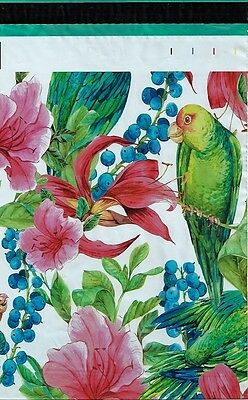 100 10x13 Pink Tropical Flowers Parrot Designer Poly Mailers Envelopes Bags