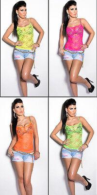 Sexy Spitzentop, transparent, Spagettiträger, neon, Top, Shirt, one size  ()