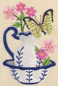 Pitcher and Bowl with Butterfly Embroidered Block St. John's Newfoundland image 1
