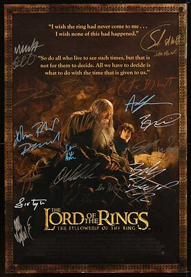 "ENTIRE CAST AUTOGRAPHED LORD OF THE RINGS  ""FELLOWSHIP OF THE RING"" MOVIE POSTER"