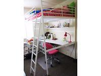 White Ikea Tromsö DOUBLE loft bed with shelf and desk