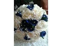 Blue & ivory wedding bouquet diamantes & pearls
