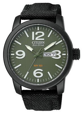 Citizen Eco-Drive Men's BM8475-00X Date Green Dial Black Nylon Strap 42mm Watch