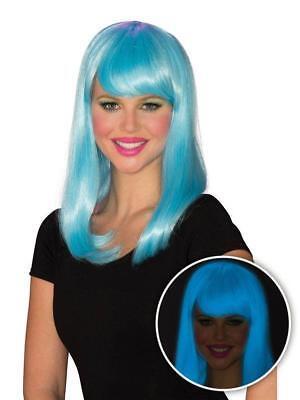 Neon Blue Blacklight Glow Girl With Bangs Wig](Neon Blue Wig)