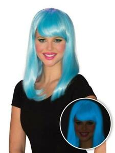 Neon Blue Blacklight Glow Girl With Bangs Wig