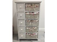 Chest of drawers & baskets, white wooden, storage