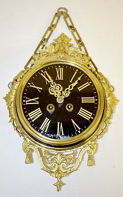 French Japy Freres Brass Wall Clock, reverse painted black dial, T&S, ... Lot 61