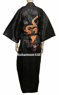 Bestickte Satin-robe (Schwarz Bestickt Drachen Design Seide Satin Kimono Robe Lang Nachtwäsche)