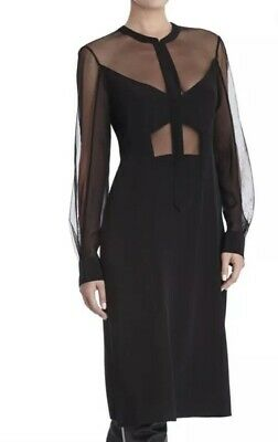 $448 BcbgMaxAzria Runway Black Silk And Mesh Long Sleeve Midi Dress Sz XS 0