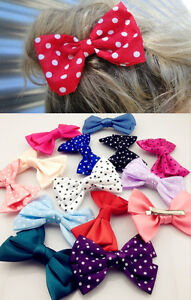 5 PCS Sweet Girl's Women's Satin Dot Butterfly Bow Hair Clip Hair Accessory