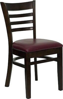 Walnut Wood Finished Ladder Back Restaurant Chair With Burgundy Vinyl Seat