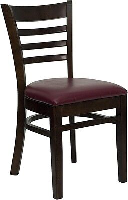Walnut Wood Finished Ladder Back Restaurant Chair With Burgundy Vinyl Seat