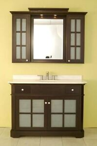 Beautiful 4-ft wooden vanity sink combo in dark chocolate espres