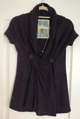 BALLERINA Sweater Cardigan Small Plum Purple Short Slv Button Wrap Anthropologie ()