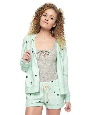 NWT-Juicy Couture PALM TREE TERRY HOODIE in SURF SPRAY Mint Green/ Lt Blue-SMALL