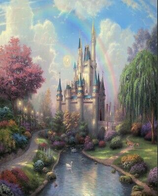 5x7ft  Cinderella Princess blue Castle Rainbow river Garden  backdrop background - Princess Background