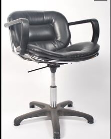 20th Century Leather and Chrome Salon chair Harry Bertoia Style