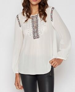 New Joie Porcelain Clema Embroidered Floral Silk Tunic Top Size XS