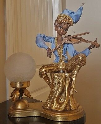 RARE VTG ITALIAN ART DECO LAMP PAPIER MACHE MINSTREL JESTER CRACKLED GLASS SHADE