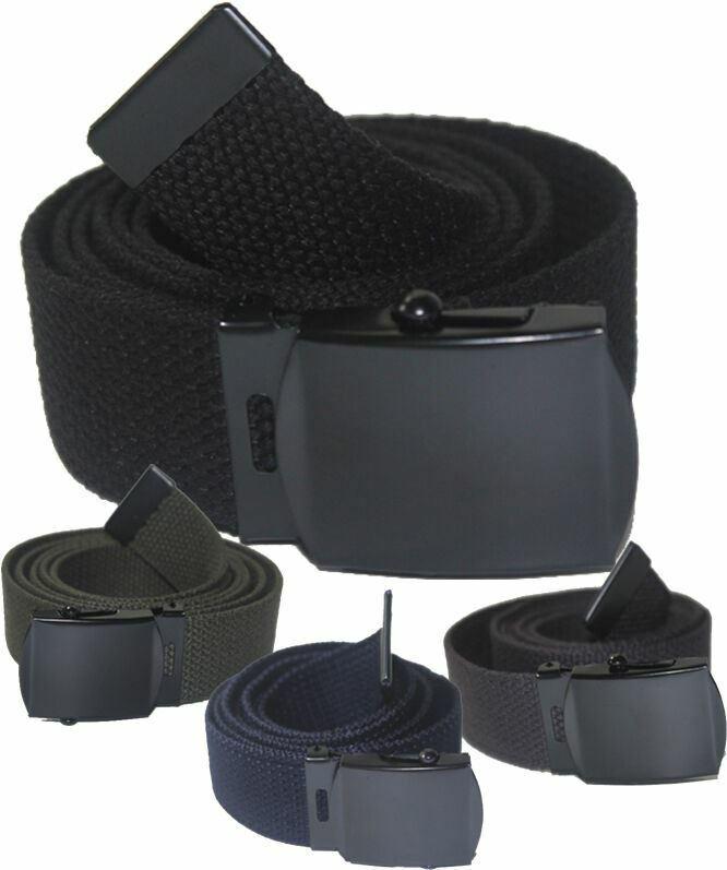 "New Adjustable 56"" Inch Assorted Canvas Military Web Belt Black Buckle Men Women"