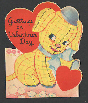 Vintage Childs Valentines Card Cute Stuffed Yellow Plaid Puppy Dog &Chick atBott
