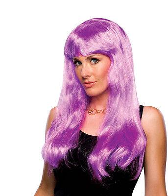 Womens Long Purple Wig Bangs Hip Hop Rockstar Halloween Costume Adult Bright (Rockstar Halloween Accessories)